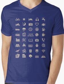 Cool Traveller T-shirt - Iconspeak T-shirt - 40 Travel Icons Mens V-Neck T-Shirt