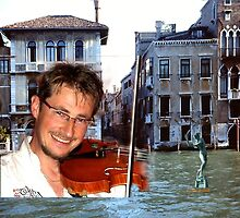 Jan in Venice - throw pillow by Gilberte