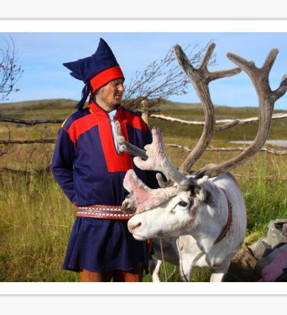 Sami & Reindeer - Nordkapp, Norway Sticker