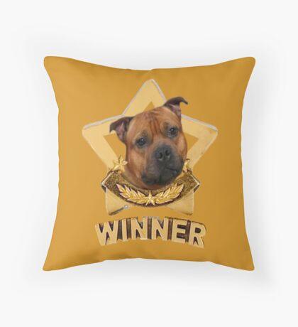 Staffordshire Bull Terrier WINNER Throw Pillow