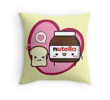 Kawaii Nutella and sandwich bread Throw Pillow