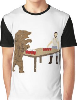Man Beer Pong with The Bear T538  Graphic T-Shirt