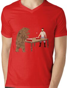 Man Beer Pong with The Bear T538  Mens V-Neck T-Shirt