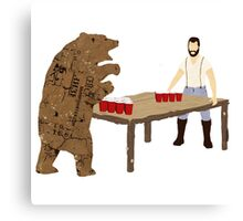 Man Beer Pong with The Bear T538  Canvas Print