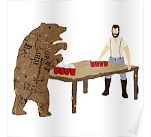 Man Beer Pong with The Bear T538  Poster