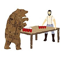 Man Beer Pong with The Bear T538  Photographic Print