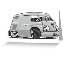 VW T1 panel van cartoon grey Greeting Card