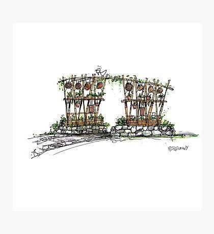 Village Gate 01 - Sketch Photographic Print