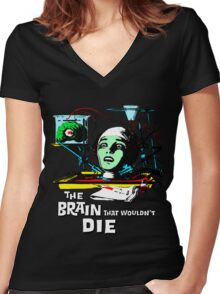The brain that wouldn't die colour Women's Fitted V-Neck T-Shirt