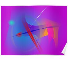 Purple Pink Abstract Space with Red Impact Poster
