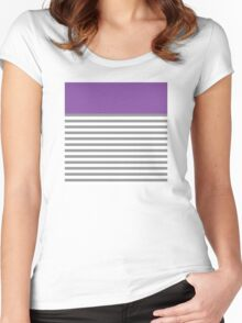 Grey Stripes With A Touch Of Purple Women's Fitted Scoop T-Shirt