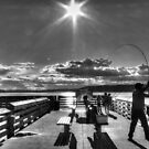 Evening at the Pier B&W by Tracy Friesen