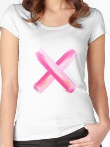 X #gold-#pink Women's Fitted Scoop T-Shirt