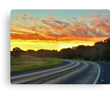 Sunrise On A Country Road Canvas Print