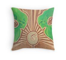 Green icons with golden worm Throw Pillow