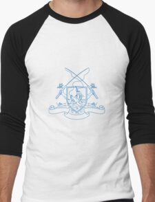 Fishing Rod Reel Hooking Blue Marlin Beer Bottle Coat of Arms Drawing Men's Baseball ¾ T-Shirt