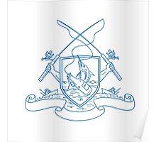 Fishing Rod Reel Hooking Blue Marlin Beer Bottle Coat of Arms Drawing Poster