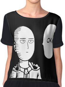One Punch Man Okay  Saitama Logo Cosplay Japan Anime T Shirt Chiffon Top
