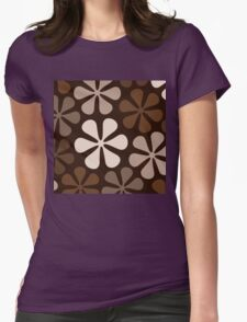 Abstract Flowers Browns & Creams Womens Fitted T-Shirt