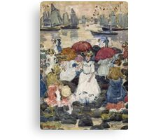 Maurice Brazil Prendergast - Beechmont. Beach landscape: sea view, yachts, holiday, sailing boat, waves and beach, marine naval navy, family seascape, sun and clouds, nautical panorama, coastal travel Canvas Print