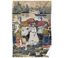 Maurice Brazil Prendergast - Beechmont. Beach landscape: sea view, yachts, holiday, sailing boat, waves and beach, marine naval navy, family seascape, sun and clouds, nautical panorama, coastal travel Poster