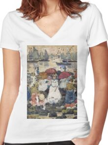 Maurice Brazil Prendergast - Beechmont. Beach landscape: sea view, yachts, holiday, sailing boat, waves and beach, marine naval navy, family seascape, sun and clouds, nautical panorama, coastal travel Women's Fitted V-Neck T-Shirt