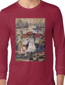Maurice Brazil Prendergast - Beechmont. Beach landscape: sea view, yachts, holiday, sailing boat, waves and beach, marine naval navy, family seascape, sun and clouds, nautical panorama, coastal travel Long Sleeve T-Shirt