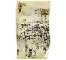 Maurice Brazil Prendergast - European Street Scene. Street landscape: city view, streets, building, houses, prospects, cityscape, architecture, roads, travel landmarks, panorama garden, buildings Poster