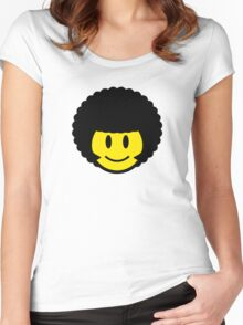 Afro Smiley Women's Fitted Scoop T-Shirt