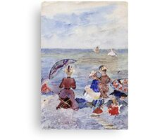 Maurice Brazil Prendergast - Figures On The Beach. Beach landscape: sea view, yachts, holiday, sailing boat, waves and beach, marine, family seascape, sun and clouds, nautical panorama, coastal travel Canvas Print