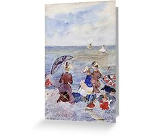 Maurice Brazil Prendergast - Figures On The Beach. Beach landscape: sea view, yachts, holiday, sailing boat, waves and beach, marine, family seascape, sun and clouds, nautical panorama, coastal travel Greeting Card