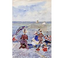 Maurice Brazil Prendergast - Figures On The Beach. Beach landscape: sea view, yachts, holiday, sailing boat, waves and beach, marine, family seascape, sun and clouds, nautical panorama, coastal travel Photographic Print