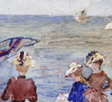 Maurice Brazil Prendergast - Figures On The Beach. Beach landscape: sea view, yachts, holiday, sailing boat, waves and beach, marine, family seascape, sun and clouds, nautical panorama, coastal travel Sticker