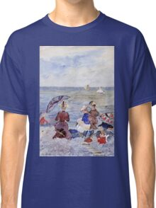 Maurice Brazil Prendergast - Figures On The Beach. Beach landscape: sea view, yachts, holiday, sailing boat, waves and beach, marine, family seascape, sun and clouds, nautical panorama, coastal travel Classic T-Shirt