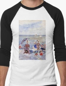 Maurice Brazil Prendergast - Figures On The Beach. Beach landscape: sea view, yachts, holiday, sailing boat, waves and beach, marine, family seascape, sun and clouds, nautical panorama, coastal travel Men's Baseball ¾ T-Shirt