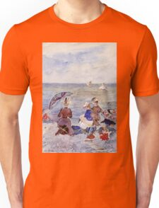 Maurice Brazil Prendergast - Figures On The Beach. Beach landscape: sea view, yachts, holiday, sailing boat, waves and beach, marine, family seascape, sun and clouds, nautical panorama, coastal travel Unisex T-Shirt