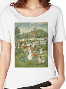 Maurice Brazil Prendergast - Franklin Park, Boston. People portrait: party, woman and man, people, family, female and male, peasants, crowd, romance, women and men, city,  Park Women's Relaxed Fit T-Shirt