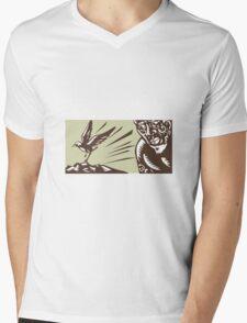 Tagaloa Looking at Plover Bird Woodcut Mens V-Neck T-Shirt