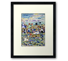 Maurice Brazil Prendergast - Idlers On The Beach. Beach landscape: sea view, yachts, holiday, sailing boat, waves and beach, marine, family seascape, sun and clouds, nautical panorama, coastal travel Framed Print