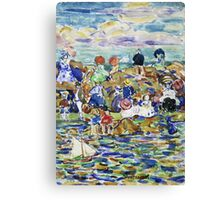 Maurice Brazil Prendergast - Idlers On The Beach. Beach landscape: sea view, yachts, holiday, sailing boat, waves and beach, marine, family seascape, sun and clouds, nautical panorama, coastal travel Canvas Print
