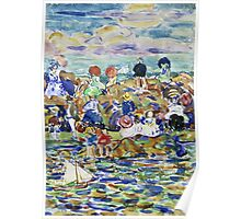 Maurice Brazil Prendergast - Idlers On The Beach. Beach landscape: sea view, yachts, holiday, sailing boat, waves and beach, marine, family seascape, sun and clouds, nautical panorama, coastal travel Poster