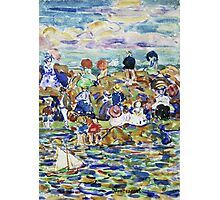 Maurice Brazil Prendergast - Idlers On The Beach. Beach landscape: sea view, yachts, holiday, sailing boat, waves and beach, marine, family seascape, sun and clouds, nautical panorama, coastal travel Photographic Print