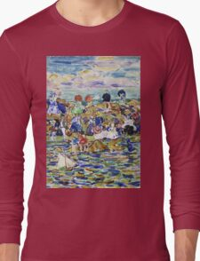Maurice Brazil Prendergast - Idlers On The Beach. Beach landscape: sea view, yachts, holiday, sailing boat, waves and beach, marine, family seascape, sun and clouds, nautical panorama, coastal travel Long Sleeve T-Shirt