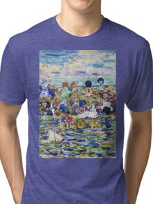 Maurice Brazil Prendergast - Idlers On The Beach. Beach landscape: sea view, yachts, holiday, sailing boat, waves and beach, marine, family seascape, sun and clouds, nautical panorama, coastal travel Tri-blend T-Shirt