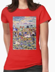 Maurice Brazil Prendergast - Idlers On The Beach. Beach landscape: sea view, yachts, holiday, sailing boat, waves and beach, marine, family seascape, sun and clouds, nautical panorama, coastal travel Womens Fitted T-Shirt