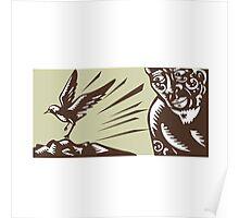 Tagaloa Looking at Plover Bird Woodcut Poster