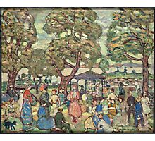 Maurice Brazil Prendergast - Landscape With Figures No. 2. People portrait: party, woman and man, people, family, female and male, peasants, crowd, romance, women and men, city, home society Photographic Print