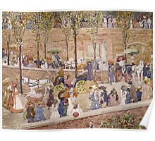 Maurice Brazil Prendergast - Monte Pincio, Rome. Street landscape: city view, streets, building, houses, prospects, cityscape, architecture, roads, travel landmarks, panorama garden, buildings Poster