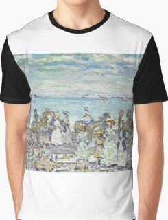 Maurice Brazil Prendergast - Opal Sea. Beach landscape: sea view, yachts, holiday, sailing boat, coast seaside with people, waves and beach, marine, sun and clouds, nautical panorama, coastal travel Graphic T-Shirt