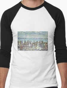 Maurice Brazil Prendergast - Opal Sea. Beach landscape: sea view, yachts, holiday, sailing boat, coast seaside with people, waves and beach, marine, sun and clouds, nautical panorama, coastal travel Men's Baseball ¾ T-Shirt